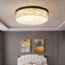 Textured Glass Geometric Ceiling Mount Light Modern LED Flush Light with K9 Crystal Deco