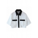 Simple Womens Shirt Contrasted Long Sleeve Point Collar Chest Pockets Relaxed Crop Shirt Top in White
