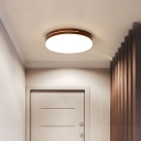 Geometry Foyer Led Flush Mount Fixture Wood Simplicity Ceiling Light in White and Coffee