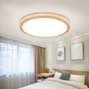 Ultrathin Round LED Ceiling Fixture Minimalist Acrylic White and Wood Flush Mount Light