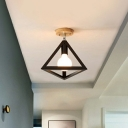 1-Light Geometric Cage Ceiling Mount Lamp Nordic Metal Rotating Semi Flush Light Fixture with Wood Canopy