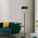 Single-Bulb Round Standing Light Minimalist Black Fabric Floor Light with Brass C Arm