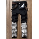 Men's Retro Bleach Wash Fashion Colorblocked Zipper Cuff Regular Fit Ripped Denim Jeans