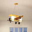 Metallic Biplane LED Chandelier Kid 2-Light Yellow Hanging Lamp with Cylindrical Frosted Glass Shade