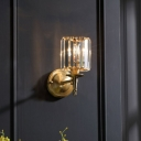 Dining Room Sconce Lighting Postmodern Gold Finish Wall Lamp with Cylinder Crystal Shade