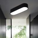 Black Elliptical Flushmount Lighting Nordic Metal LED Ceiling Light with Acrylic Diffuser