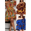 Womens African Dress Allover Blouson Sleeve Oblique Shoulder Tied Waist Mini Pleated Swing Dress