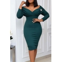 Womens Trendy Dress Plain Long Sleeve Off the Shoulder Midi Tight Dress