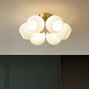 Simplicity Modo Semi Flush Mount Opal Glass Bedroom Ceiling Mounted Lighting in Gold