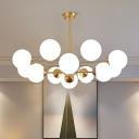 Molecular Modo Living Room LED Ceiling Lighting Opal Glass Modern Chandelier Light in Gold