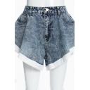 Popular Womens Shorts Denim High Rise Contrasted Trim Wide-leg Shorts in Blue