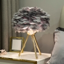 Feather Floral Table Lamp Modern Style 1 Head Nightstand Light with Metallic Tripod