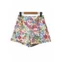 Womens Summer Shorts Floral All Over Print High Rise Relaxed Fit Shorts in Green