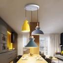 Pot Shaped Cluster Pendant Light Macaron Metal 3 Lights Dining Room Hanging Lamp with Wood Cork