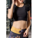 Womens T-Shirt Creative Solid Color Cropped Crew Neck Short Sleeve Slim Fit Yoga T-Shirt