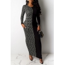 Womens Dress Trendy Meander Print Two Tone Long Sleeve Ankle Length Crew Neck Bodycon Dress