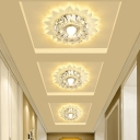 Sunflower LED Spotlight Ceiling Fixture Modern Crystal Clear Flush Mount Light for Hallway