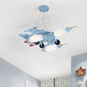Cartoon 5-Light Chandelier Fighter Jet Hanging Light with Opal Glass Shade for Bedroom