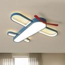 Aircraft Flush Light Contemporary Acrylic Blue LED Flush Ceiling Light Fixture for Kindergarten