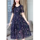 Womens Summer Chic Floral Embroidery V-Neck Short Sleeve Blue Midi A-Line Dress