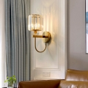 Geometric Crystal Block Wall Light Postmodern 1 Head Gold Finish Sconce Light for Living Room
