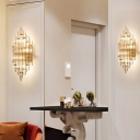 3 Lights Living Room Sconce Fixture Modern Golden Wall Lamp with Curved Crystal Shade