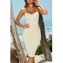 Women's Elegant Spaghetti Strap Ruched Detail Fitted Midi Evening Party Bandage Dress