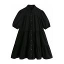 Stylish Womens Dress Plain Short Sleeve Turn-down Collar Button-up Short Swing Shirt Dress in Black