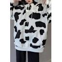 Creative Women's Hoodie Cow Dot Print Front Pocket Long Sleeve Drawstring Hooded Sweatshirt