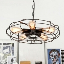 5-Light Round Cage Shade Pendant Lamp Industrial Black Metal Hanging Chandelier over Table