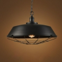 Vintage Barn Shaped Pendant Lighting 1 Head Iron Suspension Lamp with Pointed Cage Bottom in Black