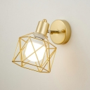 Iron Gold Finish Wall Sconce Hexagon Cage 1-Light Nordic Reading Wall Light with Adjustable Joint