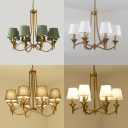 Fabric Hanging Chandelier Conic Retro Style Pendant Ceiling Light for Dining Room