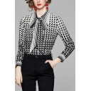 Stylish Womens Shirt Geometric Print Long Sleeve Point Collar Bow-tied Fitted Shirt in Black-White
