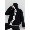 Mens Cool Hooded Sweatshirt Contrast Placket Zipper Fly Pockets Gathered Cuffs Loose Long Sleeve Hooded Sweatshirt