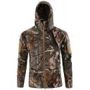 New Fashion Jungle Leaf Tree Camouflage Pattern Long Sleeve Hooded Zip Up Coat