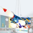 Opal Glass Spaceship Suspension Lighting Kids Style 5-Bulb Blue Chandelier Light