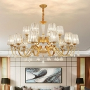 Postmodern Chandelier Tapered Suspension Pendant Light with Prismatic Crystal Shade