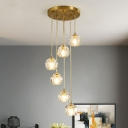 Spiral Dining Room Multi Ceiling Light Clear Faceted Crystal Postmodern Hanging Pendant Light in Gold