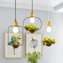 1-Light Ceiling Hanging Lantern Nordic Wooden Geometric Pendant Light with Plant Pot