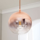 Rose Gold Globe Pendant Light Kit Postmodern Single Ombre Glass Ceiling Hang Lamp