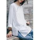 Pretty Girls T Shirt Long Sleeve Round Neck Contrast Pipe Frog Button Slit Side Relaxed Fit Tee Top