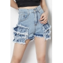 Chic Womens Shorts High Waist Tiered Raw Edge Fitted Denim Shorts in Blue