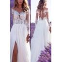 Gorgeous White Dress Sheer Mesh Applique Long Sleeve V-neck High Slit Maxi Flowy Dress for Ladies