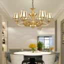 Traditional Flared Ceiling Lighting Glass Panel Chandelier Light Fixture in Gold for Living Room