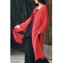 Retro Womens Coat Solid Color Linen Long Sleeve Frog Button Up Slit Sides Longline Regular Coat