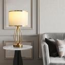 Fabric Drum Shade Table Lighting Minimalism 1-Light Living Room Nightstand Lamp Ideas