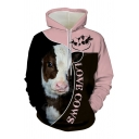 Creative Mens 3D Cartoon Cow Letter Love Cows Graphic Contrasted Long Sleeve Drawstring Kangaroo Pocket Relaxed Hoodie in Black
