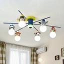 Radial Ceiling Light Cartoon Metal Kids Bedroom Chandelier with Animal Head Socket