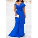 Glamorous Womens Dress Solid Color Beading Off the Shoulder Panel Long Fishtail Dress